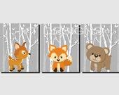 Woodland Nursery Wall Art, Forest Animals, Kids Wall Art, Baby Boy Nursery, Girl Nursery,Trees, Fox,Deer,Bear, Set of 3, Printable JPG Files
