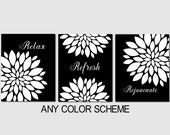 Black White Bathroom Decor, Relax Refresh Rejuvenate, Modern Floral Bathroom Art, Set of 3, Prints or Canvas, Guest Bathroom, Master Bath