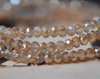 145pcs Crystal Glass Rondelle Faceted Tiny beads 2x3mm, Opal Gold Champagne  (#BZ03-45)