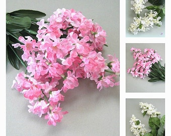 Artificial Silk Flower Supply Pink Flower Decor White Flower Stem White Pink Flower Spray Lilac Flower Bush Wisteria Spring Wedding Flowers
