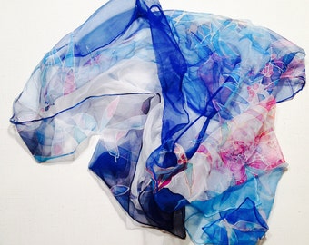 Hand painted silk scarf - Blue magic - blue silk scarf - blue hand painted shawl - chiffon scarf - 18x72inch