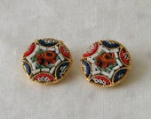 Red White and Blue Italian Micro Mosaic Clip-on Earrings in Goldtone