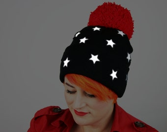 Reflective Safety Beanie Cap, Stars with or without Pom Pom