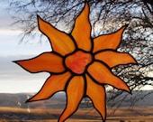 Stained Glass Suncatcher - Orange Peach Sunflower - Handmade Glass Home Decor