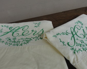 Vintage 1950s pillowcases His and Hers Spring Yellow and Green