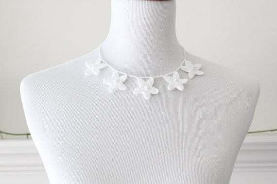 Crocheted White Necklace