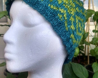 Blue and Green Knit Beanie