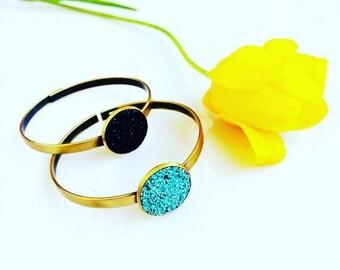Turquoise Cuff Bracelet, Bohemian Bangle Bracelet, Turquoise Bracelet, Simple Stacking Brass Bangle Bracelet