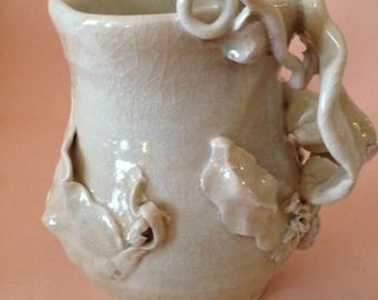 Angel Garden Rose 2, Porcelain Pitcher Vase, Shino Crackle Sparkle, Lush Sculptural Table Decor