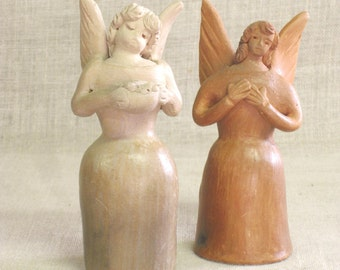 Ceramic Angels , Folk Art , Folk Art Angels , Angel , Clay , Candle Holder , Handmade , Christmas Decor , Holiday Decor , Holiday Items