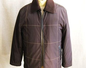 Mens Field Jacket , Brown Nylon , Top Stitch Detail , Mens Jacket , Mens Outerwear , Mens Coat , High Fashion , Menswear , Coats and Jackets