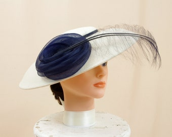 1950s Hat * 50s Hat * Navy Blue and Cream Saucer Hat * Kentucky Derby Hat * Church Hat * Formal Hat * Ascot Hat * Wedding Hat * Sylvia