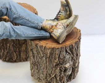 Stump Table Stool with Bark