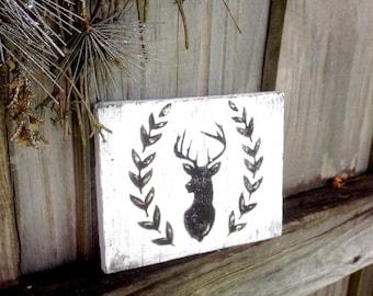 Deer wood sign ~ shelf or mantle sitter