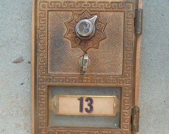 Vintage Greek Key Brass Post Box Door Combination Number Tag