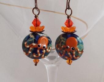 Orange octopus earrings