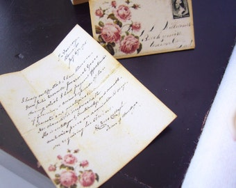 Vintage Romantic Rose Letter and Envelope 1/6 Scale or 1/12 Scale Dolls Laser Printed