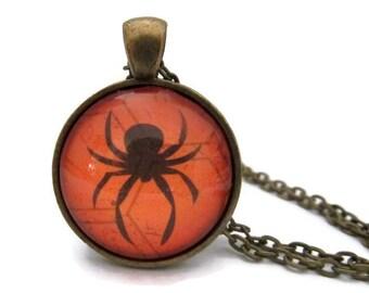 Spider Necklace,  Halloween Necklace, Spider on Web, Black and Orange Pendant, Halloween Jewelry, Art Pendant, Spider Jewelry, Bronze