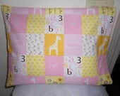 "FLANNEL - Little Cutie - Pink - Travel Size - Small - Fits 12"" x 16"" Pillow  - Pink - Yellow- White"