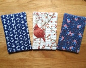 RESERVED Listing (Cassandra) - Fabric Tissue Cases - Winter Birds - Patriotic - Anchors