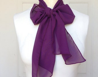 Multi Use Chiffon Hair Scarf - Eggplant Purple