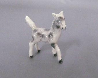 Vintage Bone China Miniature White, Gray and Black Spotted Appaloosa Horse Foal Figurine