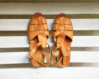 vintage nude tan leather sandals, buckle and strap, womens shoes size 11, 10 and a half