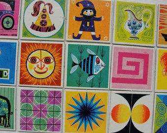 Set of 15 Vintage Childrens Memory Playing Cards - Set Nr. 2