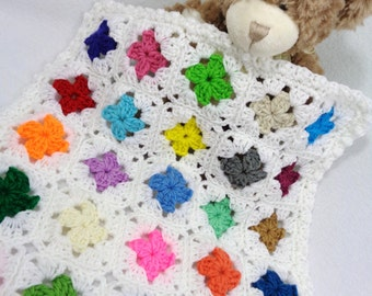 Dollhouse Quilt, Doll Bed Quilt, Crochet Teddy Bear Afghan, Crocheted Old Time Granny Square Dolly Blanket, Scrap Multicolored Covering