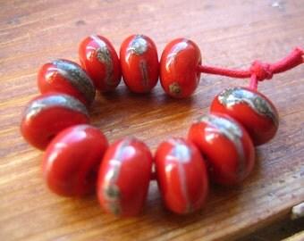 Organic Red Lampwork Beads, UK Seller, SRA
