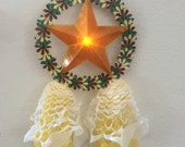 One Handcrafted Miniature Filipino Paper Parol with LED Light- Christmas Star Ornament