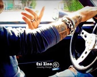 Ezi Zino Heavy men bracelet Solid Sterling Silver 925 Rockabilly infinite Style biker