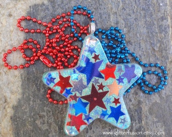 Iridescent Star Red White & Blue Americana Resin Pendant, Confetti Stars 4th of July Necklace, Team USA 2016 Jewelry, Fun Summer Necklace