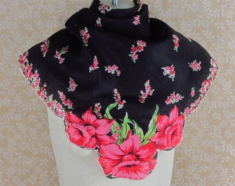 Black Floral Silk Scarf Red Flowers Shaped Corners