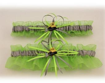 Lime Green and Silver/Grey Wedding Garter Set with Bulldozer Deco, Bridal Garter, Prom