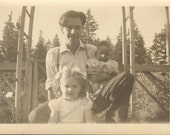 Handsome Young Father poses with His Pretty little Girl and Darling Baby Vintage Photo  K17003
