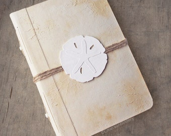 Beach Wedding Guest Book or Photo Album, Sand Dollar, Hand painted book, 6x9 {MADE UPON ORDER}