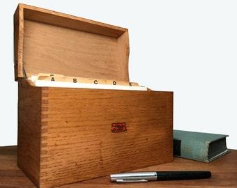 Mid Century Oak Box - dovetailed large card file - Weiss Monroe, MI