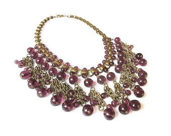 Art Deco Necklace, Amethyst Glass, Fringe Necklace, Egyptian Revival, Art Deco Jewelry, Vintage Necklace, February Birthday