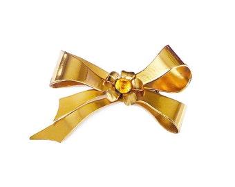 Coro Gold Tone Rhinestone Bow Brooch - Coro Ribbon, Amber Topaz, Rhinestone Jewelry, Vintage Jewelry, Vintage Brooch