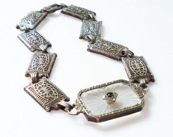 Art Deco Camphor Bracelet Sterling Silver Filigree Paste Rhinestone Antique Jewelry