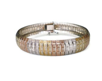 Sterling Italy Bracelet, Rose Gold, Yellow Gold, Gold Plated, Italian Silver, Bangle Bracelet, Vintage Jewelry