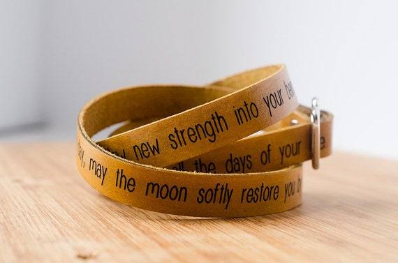 Apache Blessing May the sun bring you new energy by day Custom Text on Wide Leather Wrap Bracelet