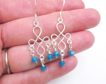 Blue Bead Dangles -- Silver & Blue Bead Earrings -- Ocean Blue Earrings -- Vacation Earrings -- Silver Infinity Earrings -- Caribbean Blue