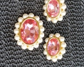 Vintage NAPIER earrings / pin signed gold tone PINK LUCITE  pearl set