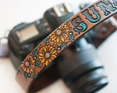 Custom Leather Camera Strap - Sunflowers- Personalized Floral Leather - Handmade & Handpainted - Camera Straps Made to Order by Mesa Dreams