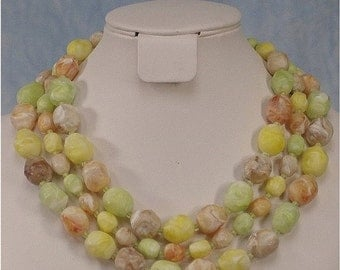 SALE Vintage Coro 50s 60s Chunky Three-Strand Swirled Lucite Bead Choker Necklace in Citrus Pastels