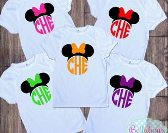Minnie Monogram Disney Bodysuit or Tshirt - Personalized shirt - Choose Color