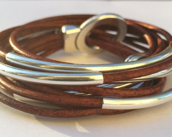 Wrap Around Leather Jewelry, Leather Wrap, Leather Bangle, Friendship, Boho Jewelry, Gift for Her, Triple Wrap, Leather Bangle