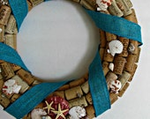 Seashell and Wine Cork Wreath with Turquoise Burlap Ribbon - Beach Decor, Wall Accent, Home Decor